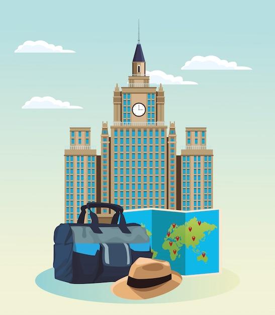 Ikonenhaftes gebäude mit reisetasche und hut Premium Vektoren