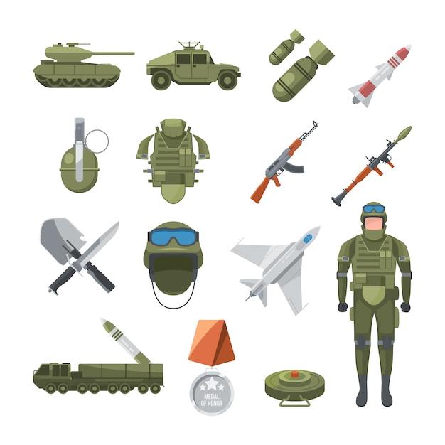 Ikonensatz der polizei und der armee. militärische illustrationen von soldaten und verschiedene waffen Premium Vektoren