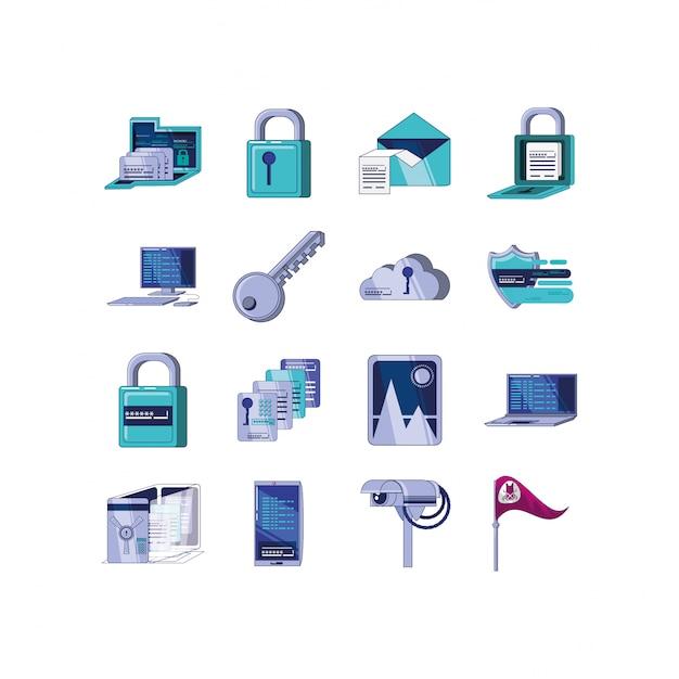Ikonensatz der sicherheitssystemillustration Premium Vektoren