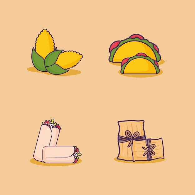 Ikonensatz des mexikanischen lebensmittels bezog sich ikonen über orange hintergrund, buntes design. vektor-illustration Premium Vektoren