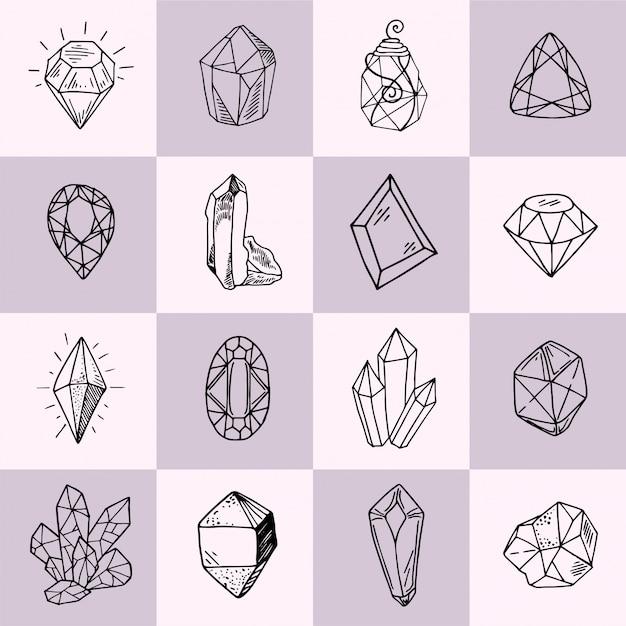 Ikonenvektor-entwurfssammlung - kristalle oder edelsteine stellten mit schmuckedelsteinen ein Premium Vektoren