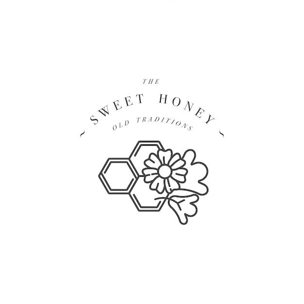 Illustartion logo und vorlage oder abzeichen. bio- und öko-honig-etikettenblüten mit waben. linearer stil. Premium Vektoren