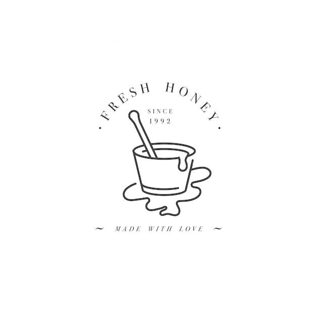 Illustartion logo und vorlage oder abzeichen. bio- und öko-honig-etikettenstift oder schöpflöffel für honig. linearer stil. Premium Vektoren