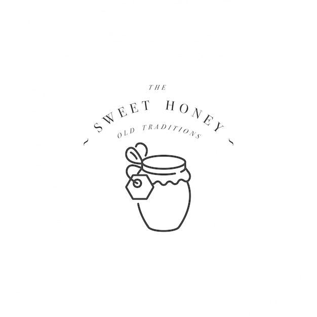 Illustartion logo und vorlage oder abzeichen. bio- und öko-honigetikett - flasche honig. linearer stil. Premium Vektoren