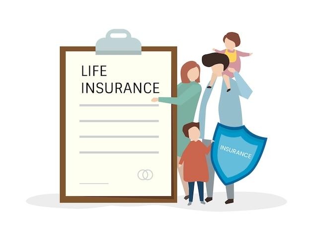 Illustartion von menschen mit lebensversicherung Kostenlosen Vektoren