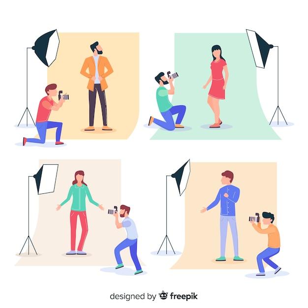 Illustratio mit fotografen im studio Kostenlosen Vektoren