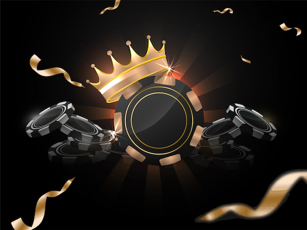 Illustration 3d von kasinochips mit preiskrone auf dem hintergrund der schwarzen strahlen verziert mit goldenem konfettiband. Premium Vektoren