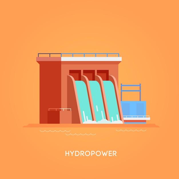 Illustration. alternative energiequellen. grüne energie. wasserkraft Premium Vektoren