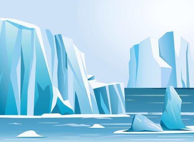 Illustration arktische landschaft eisberg und berge. winterhintergrund. Premium Vektoren
