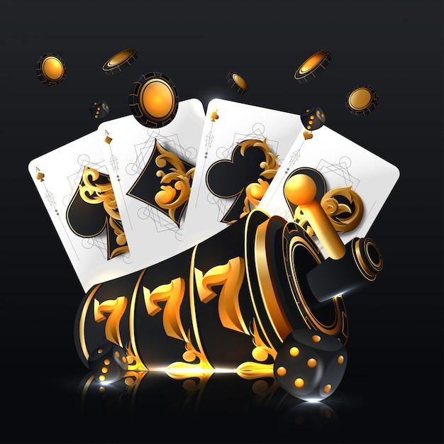 Illustration auf einem kasinothema mit pokersymbolen und pokerkarten auf dunklem hintergrund. Premium Vektoren