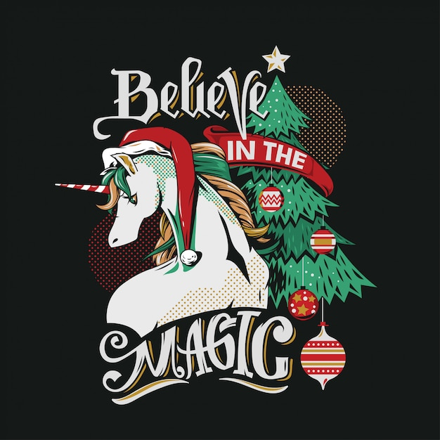 Illustration cute unicorn-santa am weihnachtsbaum Premium Vektoren