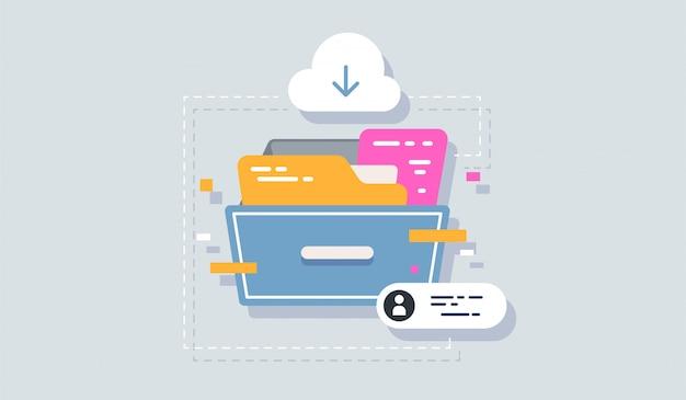 Illustration der archivikone flach isoliert auf sauber für ihr web mobile app logo design. Premium Vektoren
