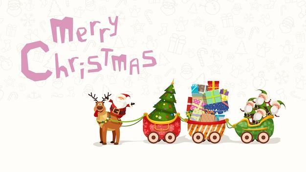 Illustration der begrüßung des weihnachtsmanns, der auf rentier mit langem schlitten voller geschenke sitzt Premium Vektoren
