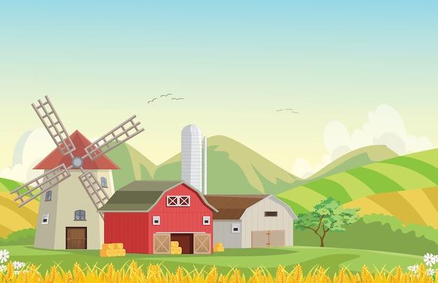 Illustration der berglandschaftsbauernhofscheune mit windmühle Premium Vektoren