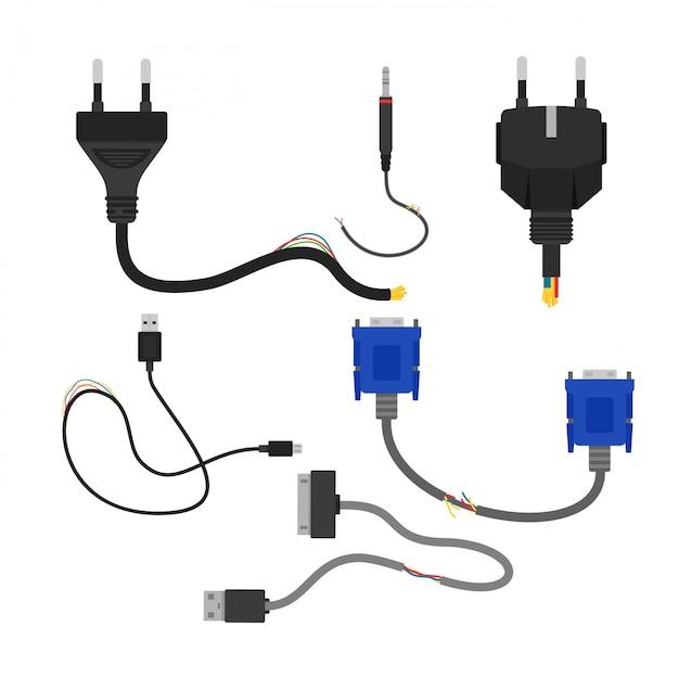 Illustration der beschädigten sammlung gebrochener elektrokabel auf weißem hintergrund. kabelschnitt, vga und usb Premium Vektoren