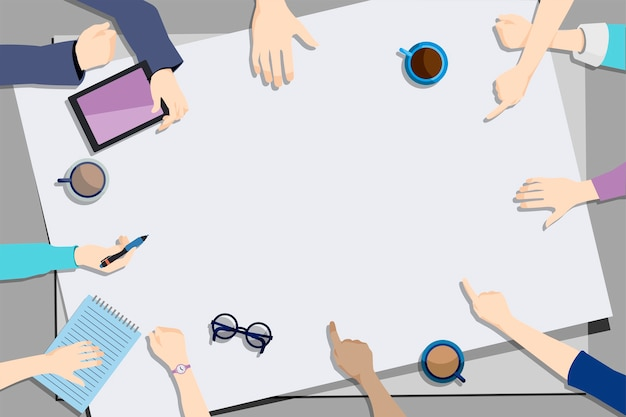 Illustration der brainstorming teamwork Kostenlosen Vektoren