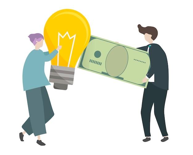 Illustration der charaktere, die geld mit ideen handeln Kostenlosen Vektoren