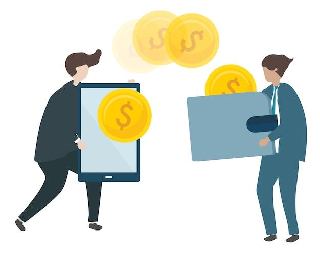 Illustration der charaktere, die geld transacting sind Kostenlosen Vektoren