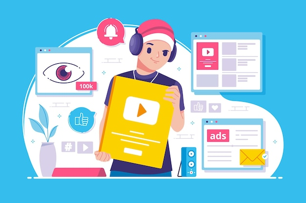Illustration der content creator awards Premium Vektoren