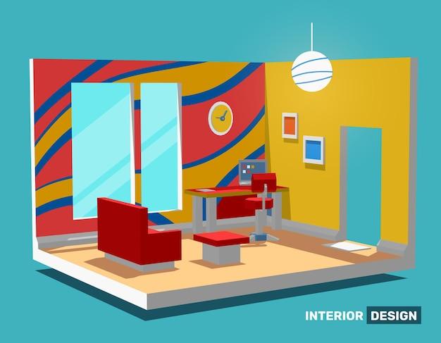 Illustration der detaillierten hellen hellen seitenansicht dekorativen innenraum home office raum Premium Vektoren