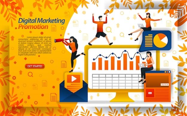 Illustration der digitalen marketingförderung mit e-mail und video Premium Vektoren