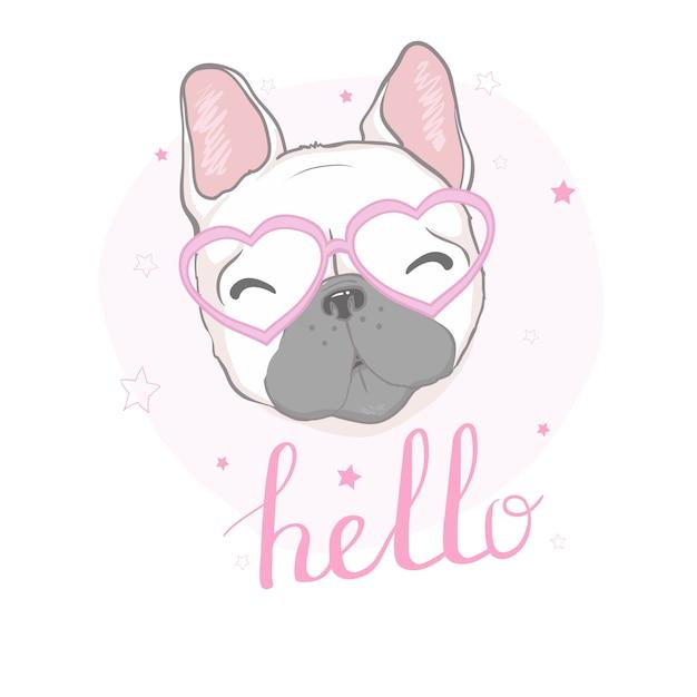 Illustration der französischen bulldogge Premium Vektoren