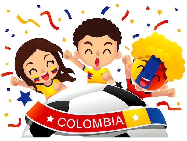 Illustration der fußballfans in kolumbien Premium Vektoren
