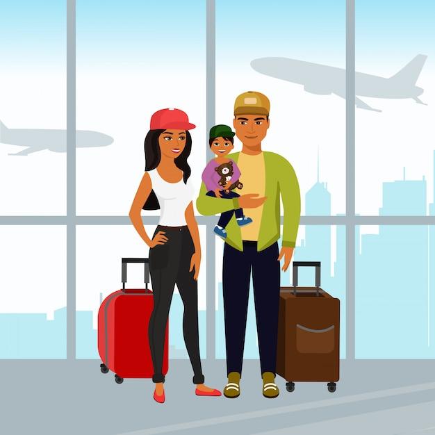 Illustration der glücklichen familie, die zusammen reist. vater mutter und sohn mit gepäck am flughafen im cartoon-stil. Premium Vektoren