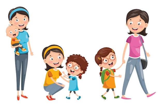 Illustration der glücklichen familie Premium Vektoren