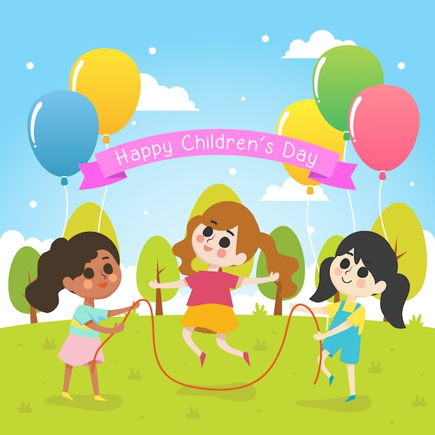 Illustration der glücklichen kinder tagesmit gruppe des mädchenspiels zusammen Premium Vektoren
