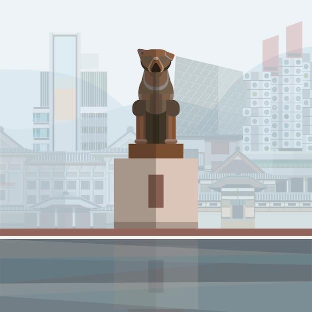 Illustration der hachikō-statue Kostenlosen Vektoren