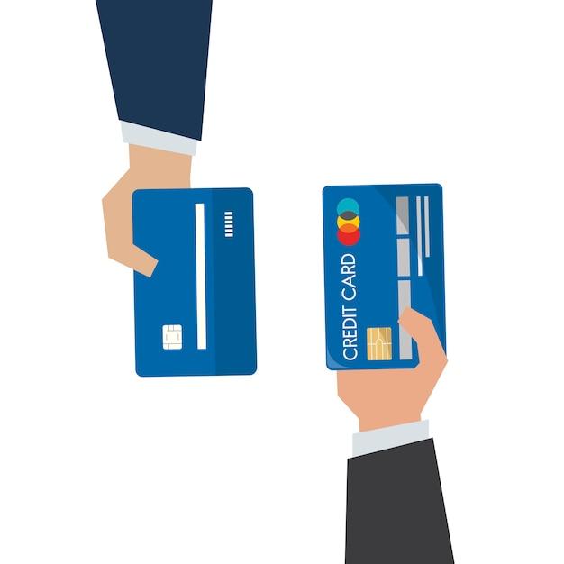 Illustration der hand kreditkarte halten Premium Vektoren