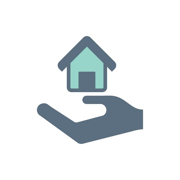 Illustration der hand unter dem haus für immobilienikone Kostenlosen Vektoren