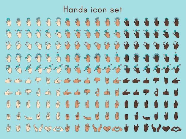 Illustration der handgeste stellte in dünne linie ein Kostenlosen Vektoren