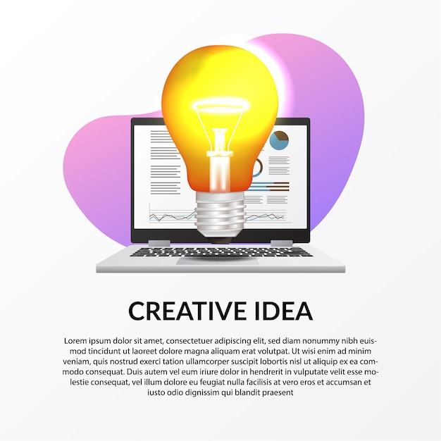 Illustration der hellen lampe mit laptop mit infographic daten für kreative arbeit des geschäfts Premium Vektoren