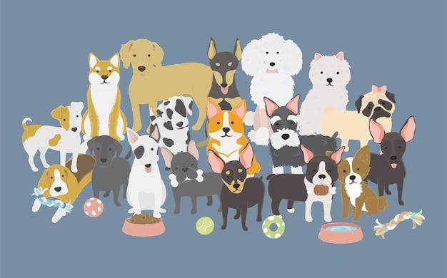 Illustration der hundesammlung Kostenlosen Vektoren