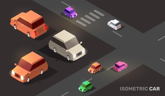 Illustration der isometrischen stadtstraße mit farbautotransport Premium Vektoren