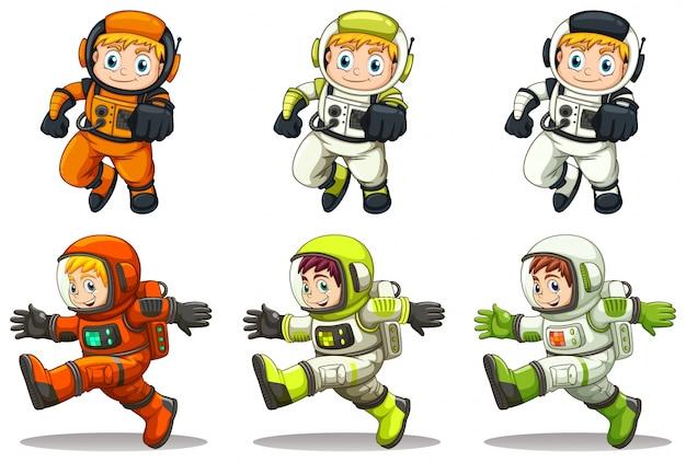 Illustration der jungen astronauten auf einem weißen hintergrund Kostenlosen Vektoren