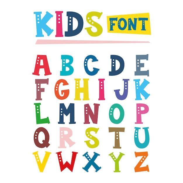 Illustration der kinderschriftart Premium Vektoren