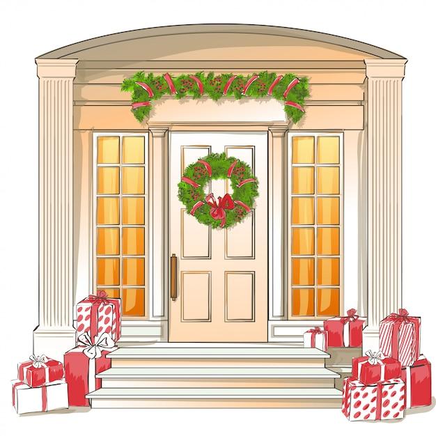Illustration der klassischen haustür mit weihnachtsgeschenken Premium Vektoren