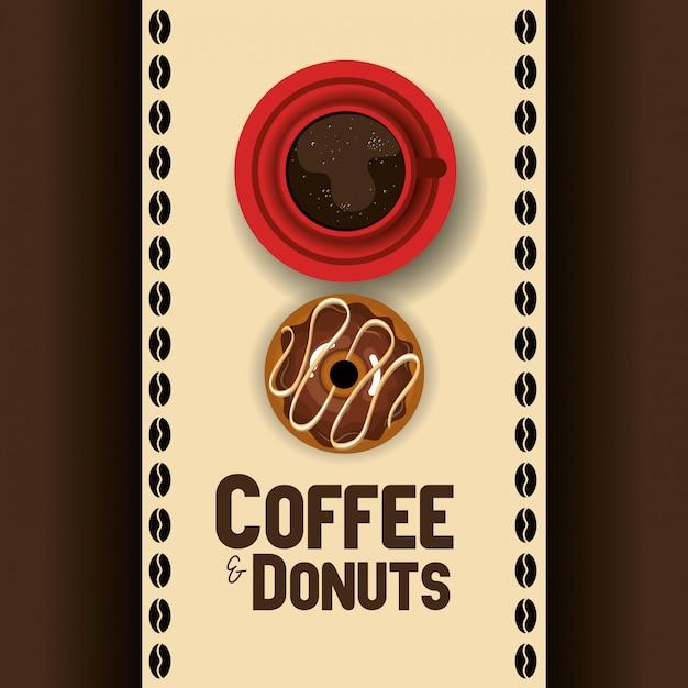 Illustration der köstlichen kaffeetasse und der schaumgummiringe Kostenlosen Vektoren
