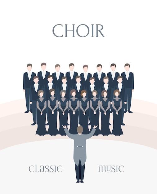 Illustration der leistung klassischen chor. mann und frau sänger zusammen mit dirigent Premium Vektoren