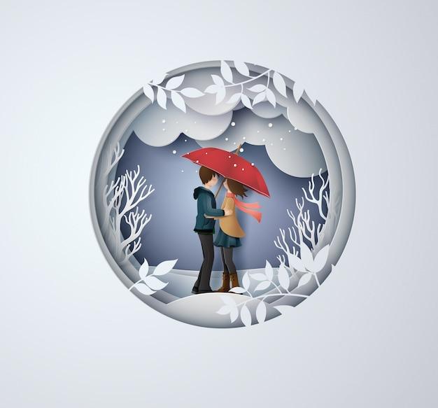 Illustration der liebe und der wintersaison Premium Vektoren