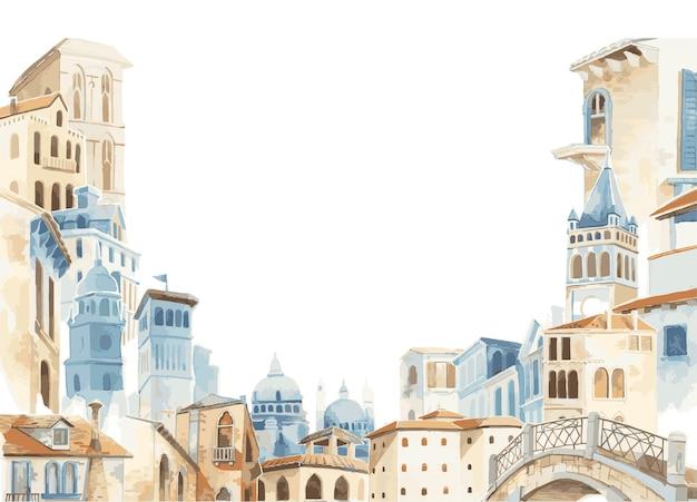 Illustration der mittelmeerstadt äußere wasserfarbart errichtend Kostenlosen Vektoren
