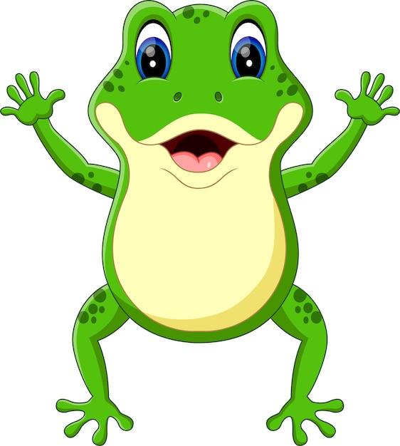 Illustration der netten froschkarikatur Premium Vektoren