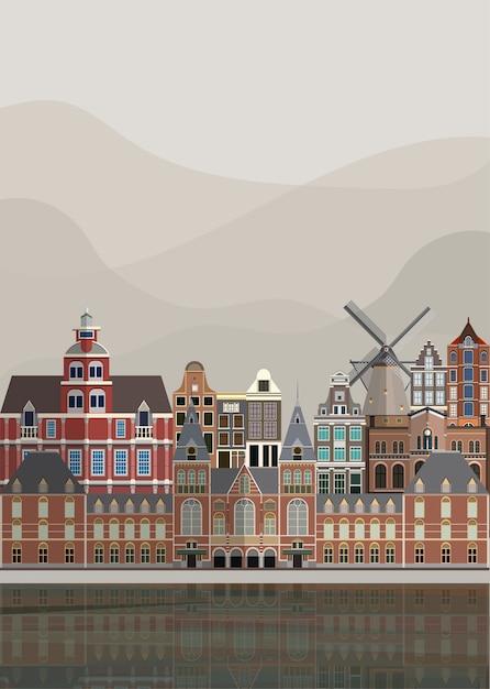 Illustration der niederländischen sehenswürdigkeiten Kostenlosen Vektoren