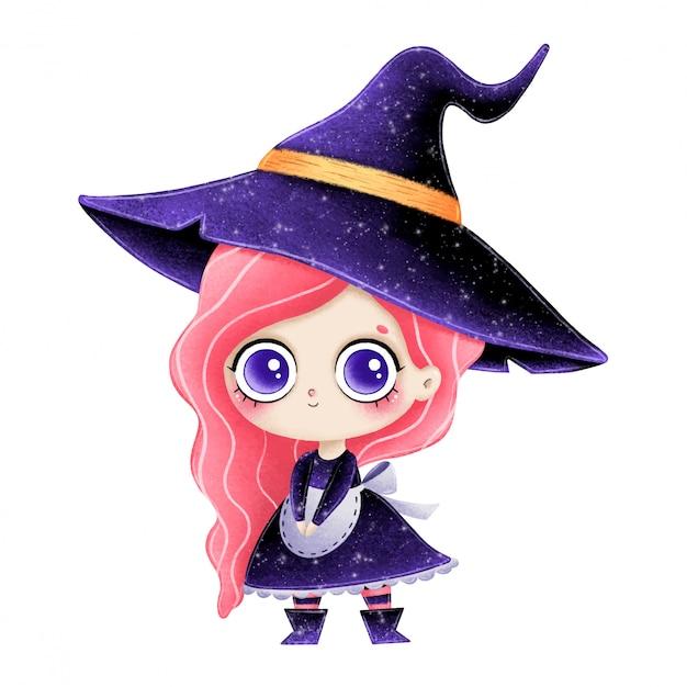 Illustration der niedlichen karikatur kleine hexe mit rosa haaren Premium Vektoren