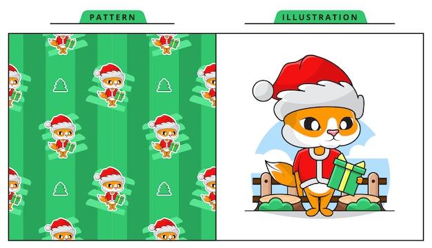 Illustration der niedlichen katze, die weihnachtsmann-kostüm mit dekorativem nahtlosem muster trägt Premium Vektoren