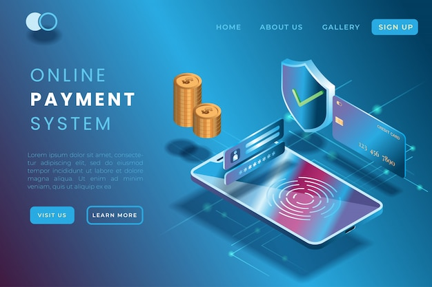 Illustration der online-zahlung unter verwendung der geräte und der kreditkarten in der isometrischen illustration 3d Premium Vektoren