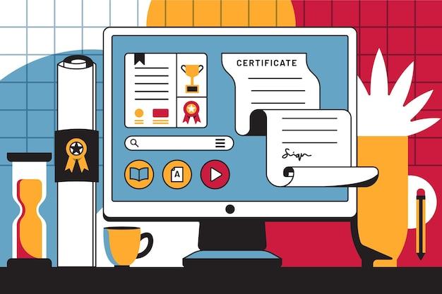 Illustration der online-zertifizierung auf dem computerbildschirm Kostenlosen Vektoren